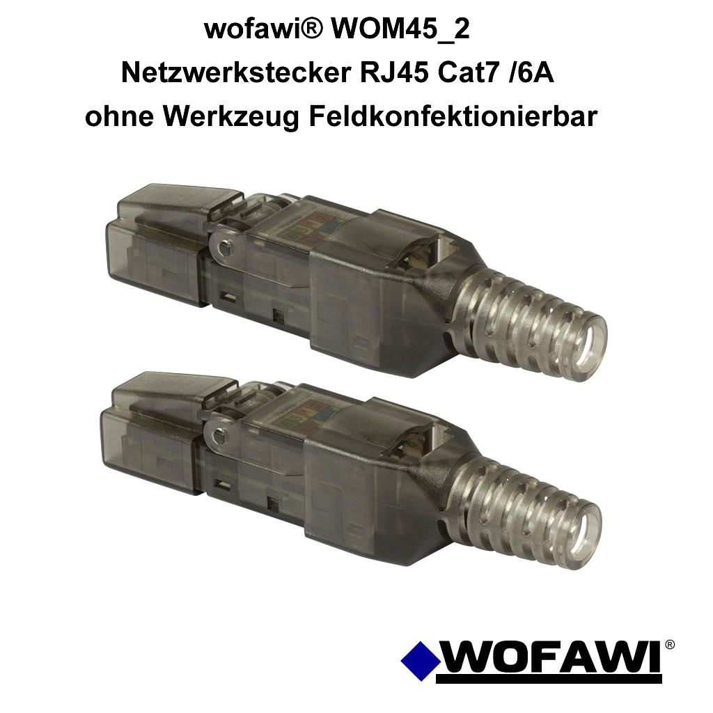 wofawi 2x netzwerk stecker rj45 cat 6a 7 feldkonfektionierbar ohne werkzeug 4251072394658 ebay. Black Bedroom Furniture Sets. Home Design Ideas